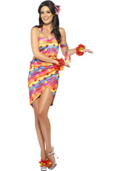Hawaiian Party Girl Costume, includes dress and armband.