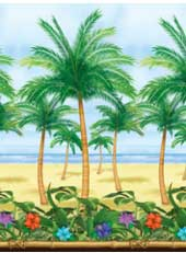 40ft Long Palm Tree Room Roll. Decorates an entire room. Each roll measures 4ft * 50ft (1.22m * 15.24m). Use together with Bamboo Room Setter and Tiki Border roll for wall to ceiling coverage. Then simply add scene setters to create your scene.