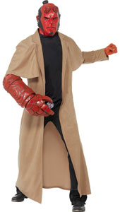 Hellboy Costume, includes coat, mask, arm piece and belt buckle.