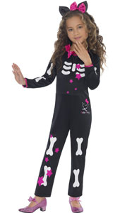Hello Kitty Halloween Star Skeleton Costume, includes Jumpsuit and Headband