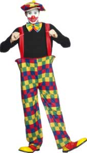 Clown Costume, includes hooped trousers, hat and bow tie.