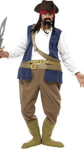 Pirate Hooped Costume, includes bodysuit, hat, bootcovers and sash.