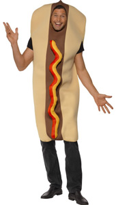 Giant Hot Dog Costume.  Full Bodysuit with Ketchup Effect Front.