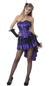 Hurly Burly Showgirl Burlesque Costume, includes corset top and skirt. The black and purple corset features contrast piping, lace trim and purple satin ribbon bows on the front and has plastic boning inserts to keep its shape. This Showgirl Costu