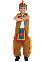 From your feathered bandana down to your fringed faux-moleskin trousers, you'll look every bit the Indian brave! Ready to lead your men across the prairies, be sure to practise your war cry before you leave your wigwam. Indian Boy Costume, includes w