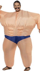 Inflatable Muscle Man Costume, includes inflatable bodysuit.