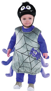 This is one little spider web you'll want to get tangled in. The Baby Itsy Bitsy Spider Costume features a plush poly-knit, easy-to-put-on tunic with spider web print on the front and spider legs attached to the side. Included in this Baby Spider Costume