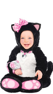 Toddlers Itty Bitty Kitty Costume features a plush black and white jumpsuit with attached collar and tail, and pink soles on the footies. The separate black fur hood has felt cat ears with a silken pink bow dotted with little hearts on one ear. The little