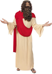 Jesus Costume, includes robe with attached sash, crown of thorns, beard and wig.