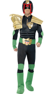 Judge Dredd Costume, padded jumpsuit with black detachable shoulder pieces, helmet and boot covers