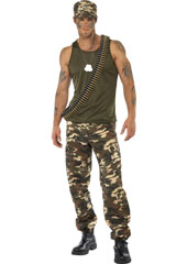 Khaki Camo Costume, includes vest and trousers.