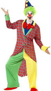 LA Circus Deluxe Clown Costume, includes jacket, trousers, mock shirt with bow tie and shoe covers. HAT AND WIG NOT INCLUDED - SOLD SEPARATELY.