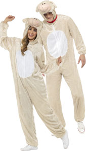 Adult Lamb Costume, includes jumpsuit with hood.
