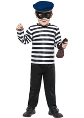 Little Burglar Costume, includes top, trousers, hat and mask.