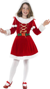 Little Miss Santa Costume, includes dress with hood.