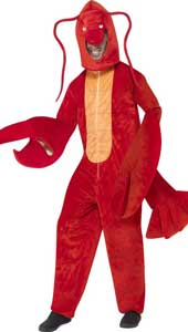 Lobster Costume, includes bodysuit and hood.  One Size.