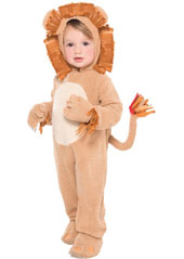 Toddlers Loveable Lion Costume features a fuzzy brown jumpsuit with an attached bendable tail. Attached hand covers are decorated with brown fringe while the shoe covers have embroidered toes with a cutout sole to place over shoes. The plush faux fur hood