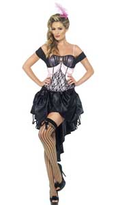 Madame LAmour Burlesque Costume, includes top, drawstring skirt and feather hair clip.