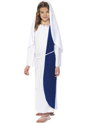 Mary Nativity Costume, includes dress and headpiece.