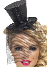 Fever Mini Top Hat. Black with glitter and netting.