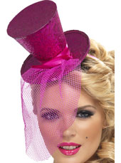 Fever Mini Top Hat. Pink with glitter and netting.