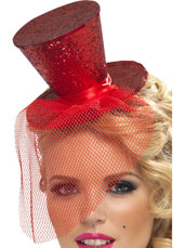 Fever Mini Top Hat on headband. Red with glitter and detachable netting.