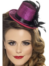 Mini Top Hat. Pink with black ribbon and feather
