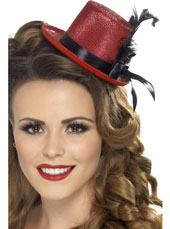 Mini Top Hat. Red with black ribbon and feather