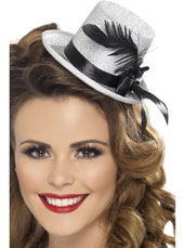 Silver Mini Top Hat with Black Ribbon and feather
