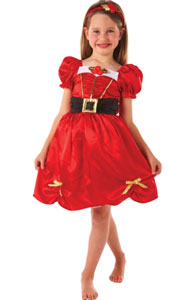 Miss Santa Costume, includes Miss Santa dress with sequin, belt and bow detailing plus headband.