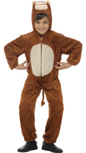 Child Plush Velour Monkey Costume with Hood