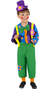 Mr Brighty Ballons Costume, includes jumpsuit with mock braces and hat.