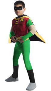 Muscle Chest Robin Costume, includes eyemask, cape, muscle chest jumpsuit with attached boot tops and belt.