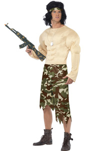 Muscleman Costume, includes padded jumpsuit with headband