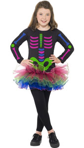 Neon Skeleton Girl Costume, includes long sleeve tutu dress. LEGGINGS NOT INCLUDED.