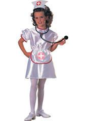 Nurse Costume, includes headpiece and dress with attached apron.