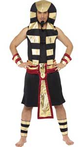 Pharaoh Costume, includes skirt, headpiece, belt, arm and leg cuffs.