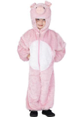 Child Plush Velour Pig Costume with Hood