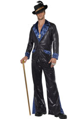 Pimp Daddy Costume, includes Jacket and Trousers. HAT, CANE AND DOLLAR SIGN MEDALLION SOLD SEPARATELY.