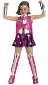 Pink Wonderwoman Costume, includes dress with attached cape, gauntlets, belt, headband and boot tops.