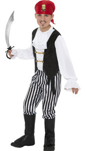 Child Deluxe Pirate Costume with shirt, pants, boot covers, headscarf and belt.