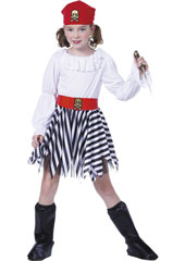 Pirate Girl Costume, includes dress, headpiece, belt and bootcovers.