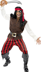 Pirate Ship Mate Costume, includes top, trousers, scarf and belt.