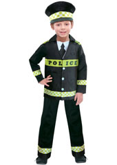 Policeman Child Dress Up Costume, includes top with shirt details and 'Police' on the front, matching trousers and hat.