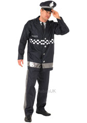 Policeman Costume, includes jacket with attached shirt bib, trousers and cap.