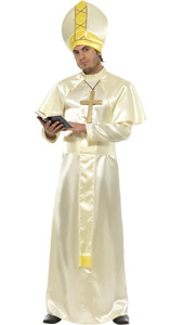 Pope Costume, includes robe, sash, hat, necklace and cape.
