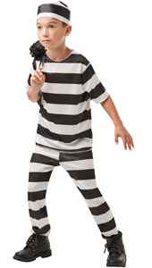 Prisoner Boy Costume, includes hat, shirt and trousers.