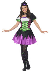Punky Neon Witch Costume, includes dress, cape and hat.