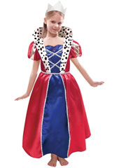 Queen Costume, includes dress and tiara. The long dress in blue and royal red is featuring silver hems and a wide ermine printed collar, the bodice has a red drop shaped diamond in the front and silver and red puff sleeves. The silver fabric crown gives