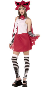 Rebel Toons Red Riding Hood Costume, includes dress, cape with hood, leggings and gloves.